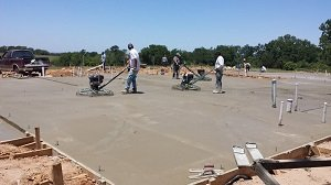 pour concrete slab foundation